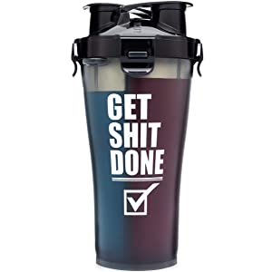 Hydra Cup - 36oz High Performance Dual Shaker Bottle, 2 in 1, 14oz + 22oz, Leak Proof, Awesome Colors, Patented PRE + Protein Shaker Cup, Save Time & Be Prepared, Get It Done Black