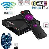 SHENGMO A5X Max Plus Smart Android 7.1 TV Box RK3328 4K HDR10 USB3.0 4GB 32GB Dual-Band WiFi LAN Bluetooth 4.0 HD HDR10 4K TV Box A5X Max+(+Wireless Mouse)