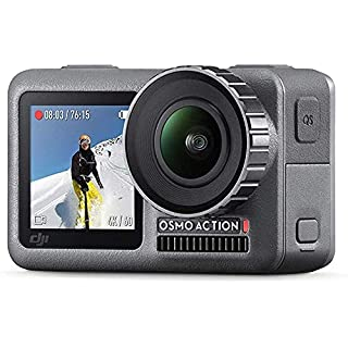 DJI Osmo Action with 2 Batteries - 4K Action Cam 12MP Digital Camera with 2 Displays 36ft Underwater Waterproof WiFi HDR Video 145° Angle, Black