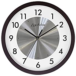 Fzy.bstim Wall Clock Battery Operated,Silent Non Ticking Quartz Wall Clocks for Bedrooms,Easy to Read Home/Office/School/Kitchen Clock,10 Inch,Walnut