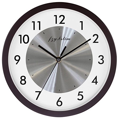 Wall Clock Battery Operated,Silent Non Ticking Quartz Wall Clocks for Bedrooms,Easy to Read Home/Office/School/Kitchen Clock,10 Inch,Walnut (Clock Walnut Kitchen)