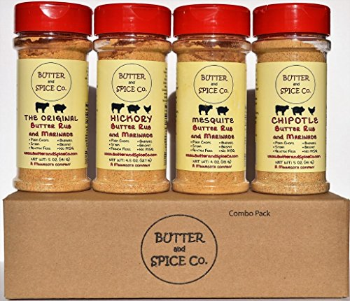 Butter and Spice Co. Steak Lover's Butter Rub Combo Pack- Spice Set for Pork Chops, Steak, Brisket, Burgers, Pot Roasts, Pork Shoulder and Pork Loin, Beef Ribs, Chicken and (Pork Loin Roast)