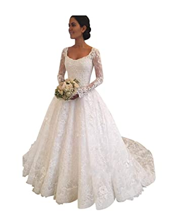 e91c7f6bae25 XJLY Princess Long Sleeve Empire Waist Lace Wedding Dresses Birdal Gown at  Amazon Women's Clothing store: