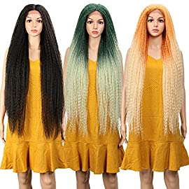 FASHION IDOL Dreadlock Wig Long Lace Front Wig 38 Inch Natural Black Wig Marley Braids Wig Kanekalon Wig For Black Women(1B)