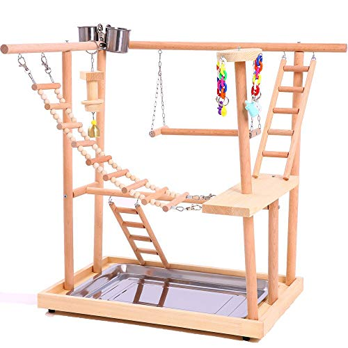 Play Perch - QBLEEV Wood Parrot Playground Perches with Swing,Birds Chewing Climbing Ladder Toys, Bird Training Play Stands Feer Cups for Parakeets Conures Cockatiel Lovebirds (18.7