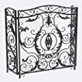 Great Deal Furniture 295447 Mariella Black Silver Finish Floral Iron Fireplace Screen,