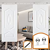 HomeDeco Hardware White Sliding Barn Door Hardware High Quantity Steel Kit (12 FT Double Door Soft Close Kit)