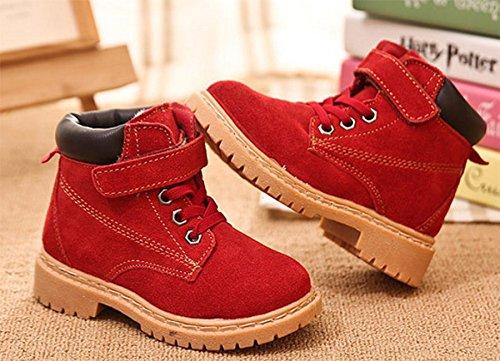 Ohmais Kinder Mädchen Junge Halbschuhe Stiefel und Stiefeletten klassische kleines Mädchen Schuh rot dick