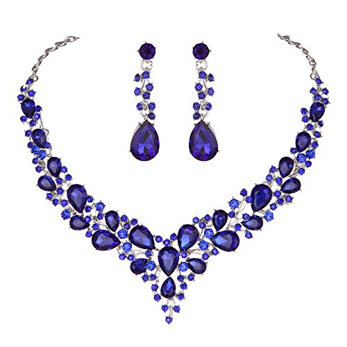 Youfir Bridal Austrian Crystal Necklace and Earrings Jewelry Set Gifts fit with Wedding Dress -
