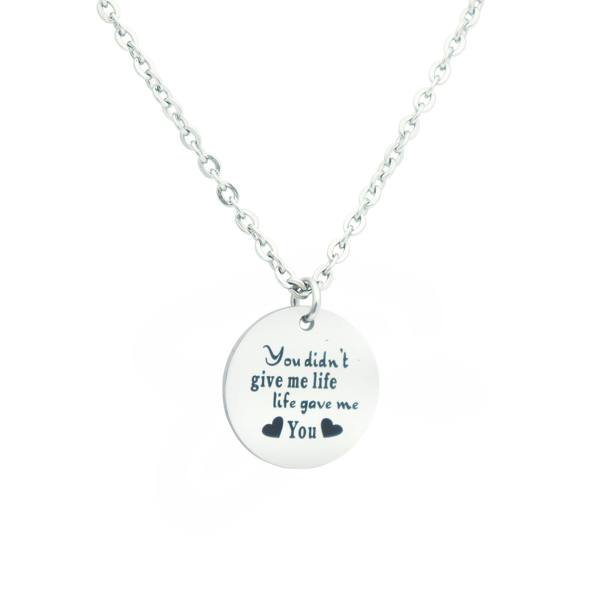 Eilygen Stepmom Wedding Gift Thank you for Loving me as Your Own Disc Pendant Necklace Mother's Day Gift for Stepmother (You Didn't Give Me Life Life Gave Me You)