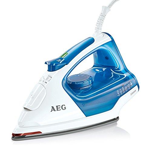 AEG Dampfbügeleisen 4Safety Plus (2300 Watt, 110 g Dampfstoß, Glissium 80 Bügelsohle, Abschaltautomatik, Anti-Kalk System) Blau/Weiß