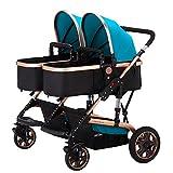TZ Twin Lightweight Stroller Double Baby Pram (Blue)