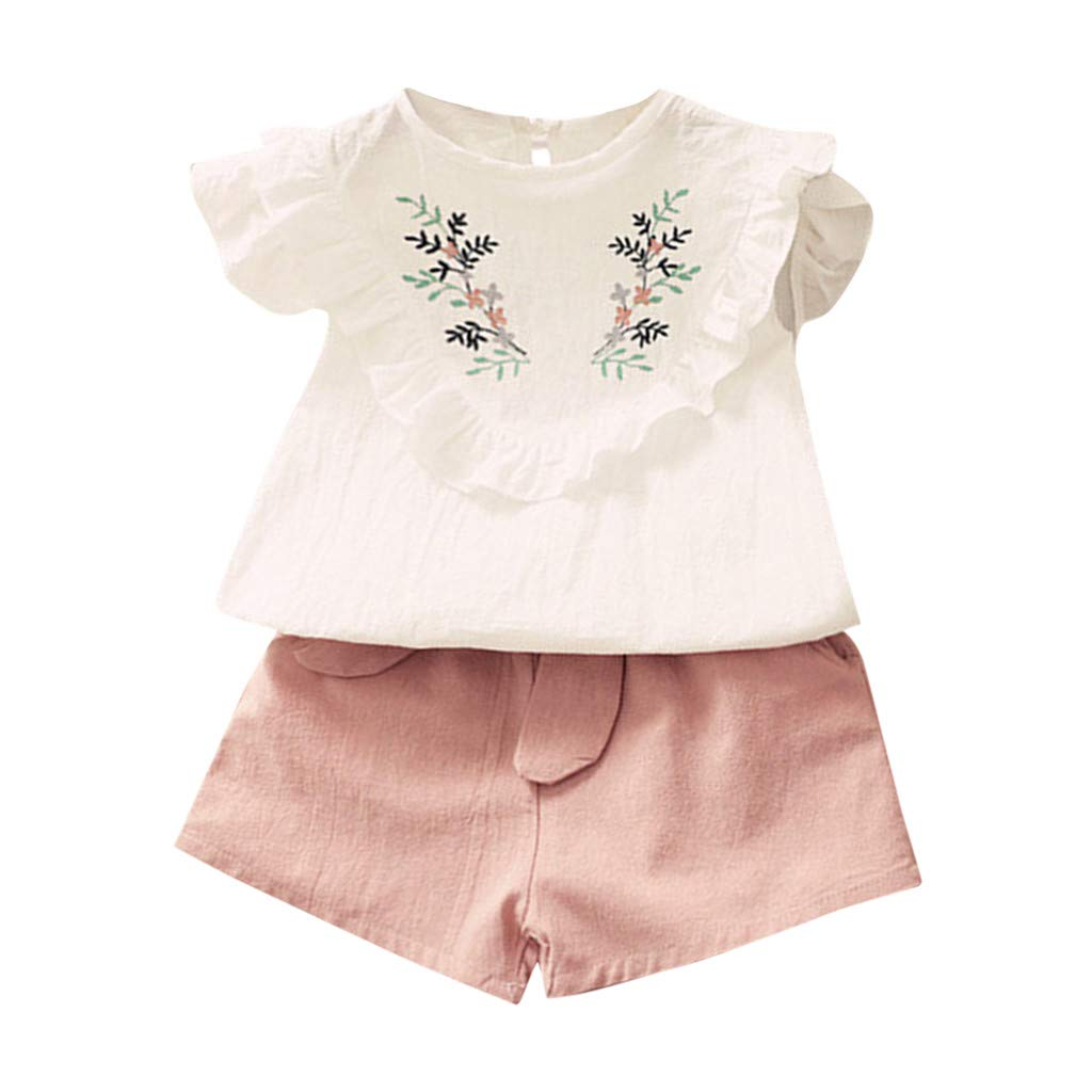 2PC Kids Baby Girl Off Shoulder Long Sleeve Tos Jeans Pants Outfit Clothes Set