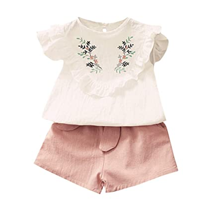 Baby Girls 2Pcs Long Ruffle Sleeve Solid Tops+Floral Printed Pants Outfits Set