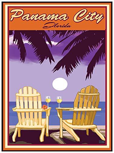 Panama City Florida Adirondack Chairs Palms White Wine Giclee Art Print Poster by Joanne Kollman (18