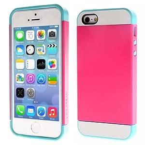 Plastic TPU Hard Cover Case Combination Carcasa para iPhone 5 5S (Magenta & Blue)