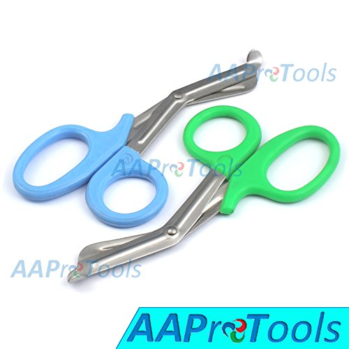 "Nice AAPROTOOLS SET OF 2 (SKY BLUE GREEN) TRAUMA PARAMEDIC EMT SHEARS SCISSORS 7.5"" A+ QUALITY for sale"