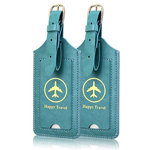 Luggage Tags, ACdream Leather Case Luggage Bag Tags Travel Tags 2 Pieces...