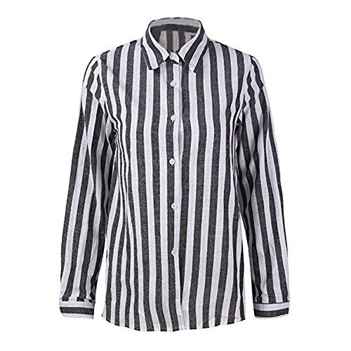 Mode T Noir Chemise Chemise Dames Revers lache ray de Chemise Femmes des Couleur Shirt Bouton g05Bq0