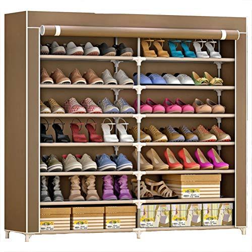 Wanforjewellery Shoes Rack Organizador de Tela de Zapatos, Zapatero 7 Pisos con 125cm×120cm×30cm, Resistente al Polvo,Brown