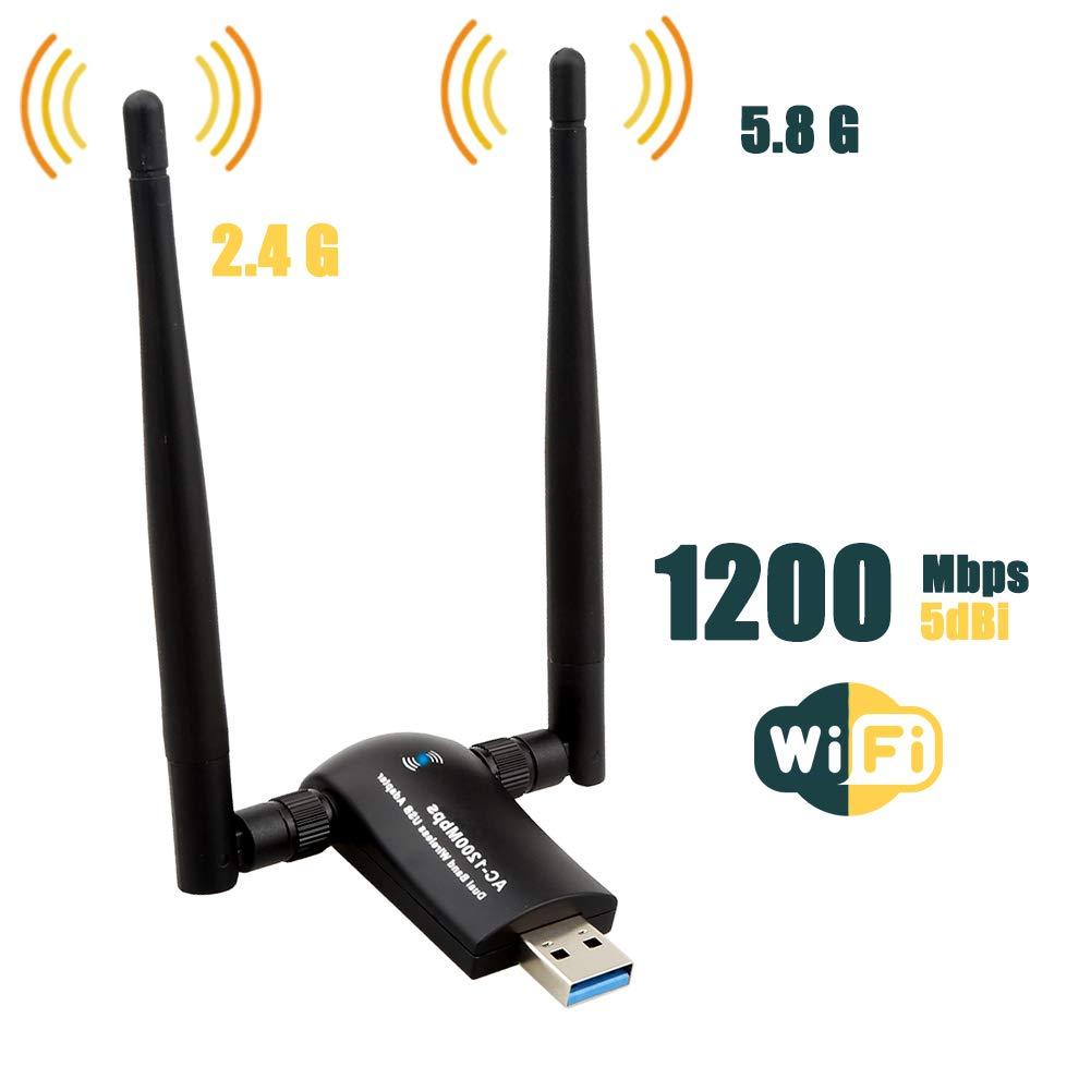 TECHKEY Wireless USB WiFi Adapter, 1200Mbps Dual Band 2.4GHz/300Mbps 5GHz/867Mbps High Gain Dual 5dBi Antennas Network WiFi USB 3.0 for Desktop Laptop with Windows 10/8/7/XP, Mac OS X