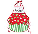 Santa Doesn't Count Calories Apron Hand Painted Christmas Baking Chef Kitchen