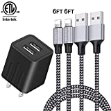 JAHMAI Nylon Braided Fast Charging Cable 2Pack 6feet Data Sync Transfer Cord Phone Connector with Wall Charger Plug Adapter(UL Listed) Compatible Wth Phone XS MAX/XR/XS/X/8/7/Plus/6S/6/SE/5S/Tablet