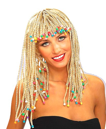 Jamaican Wig (Forum Novelties Women's Adult Corn Row with Beads Costume Wig, Blonde, One Size)