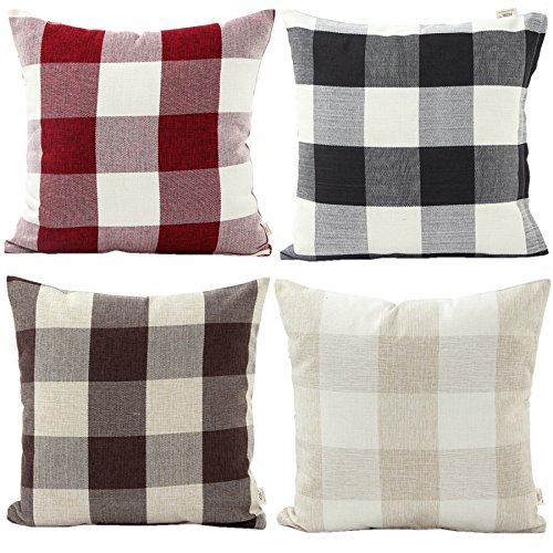HOSL 4-Pack P114 Retro Checkers Plaids Linen Square Decorative Throw Pillow Case Sofa Car Cushion Cover Pillowcase 18x18-inch (Set of 4) (Plaid Sofa Sets)