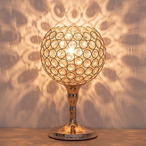 HAITRAL Crystal Desk Lamps - Gold Spherical Night Light Lamp with Metal Base Elegant Decorative Bedside Lantern Nightstand Lamps for Living Room, Bedroom, Dresser, Office, Hallway (HT-BD026) (Lamp Crystal Gold)