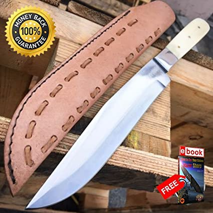 13'' Apache Bowie Mountain Man Trade Patch Knife Real Bone Carbon
