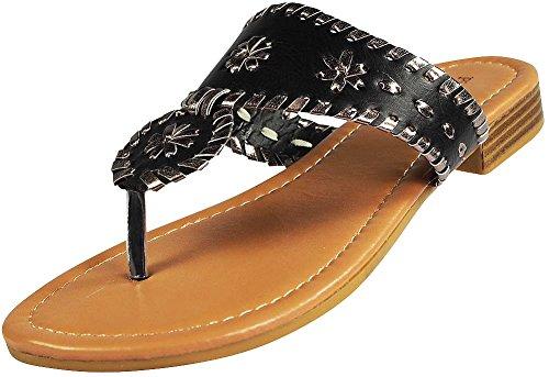 Women's Rosetta 1 Dumas Black Pewter Slip Pierre on Sandals 4wAUzzq