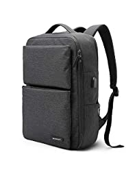 BAGSMART Slim Business Laptop Backpack Water-Resistant Work Bag with Thick Padded Laptop Compartment Fit up to 15.6 Inch, Black