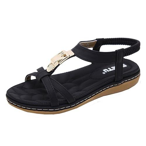 f0f2a1326dd8 Perman Cheap Women s Summer Bohemia Flat Metal Buckle Elasticity Sandals -  SIKETU (US 5