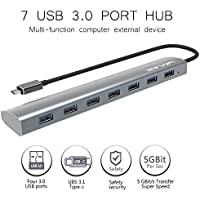 Wavlink 7 Ports USB 3.1 Type-C to USB 3.0 Hub Aluminum Design with 5V 4A Adapter Multi-function USB Dock Hot Swapping Support for Mac Ultra-Slim Desktop- Gray