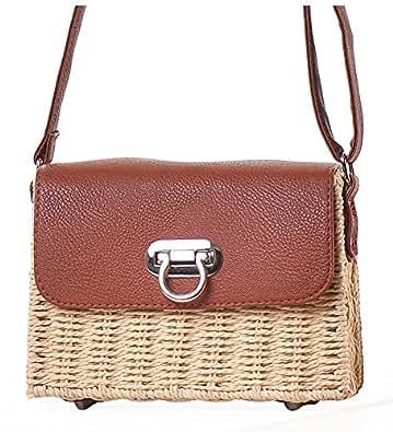 Hycurey Retro Straw Purse and Handbag Small Box Woven Womens Summer Beach Cross Body Bag Shoulder Messenger Satchel Beige