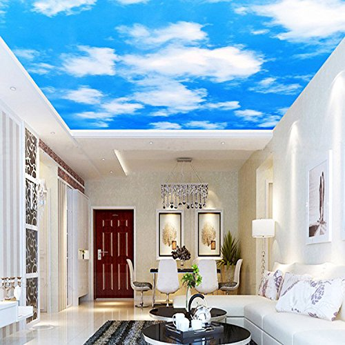 ZLJTYN 240cmX160cm Quality Fabric Mural Paper New Arrivals Wallpapers Luxury 3D Blue Sky White Clouds Wallpaper Sky Blue Wall Papers Living Room by ZLJTYN (Image #2)