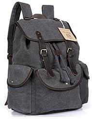 NiceEbag Canvas Casual Unisex Rucksack School Laptop Backpack Vintage Travel Bag