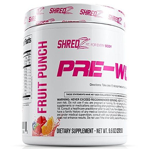 Protein Energizer Low Fat Shake (SHREDZ Pre-Workout Supplement Designed for Women Increases Energy and Boosts Performance - Fruit Punch 9.6oz)