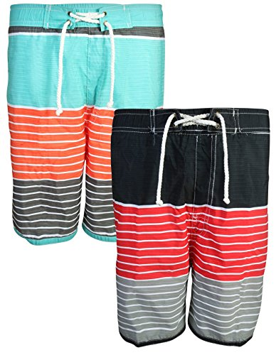 41e6ed881d Quad Seven Boys\' Swim Trunks, 2-Pack Set (4, Charcoal-Orange/Grey-Red)'