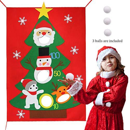 Lulu Home Christmas Party Games, Santa Christmas Felt Bean Bag Toss Games with 3 Snowballs, Family Party Games for Xmas Holiday (Party Christmas Best Games Family)