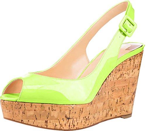 Trusify Mujer 10cm EU tamaño 34-46 Truabsent Tacón ancho 10CM Sintético Sandalias de vestir Verde yellow