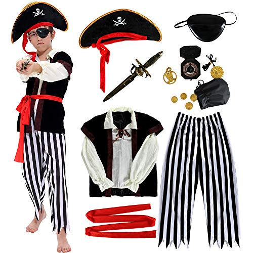 Pirate Costume Kids Deluxe Costume Pirate Dagger Compass Earring Purse for Halloween Party (M)