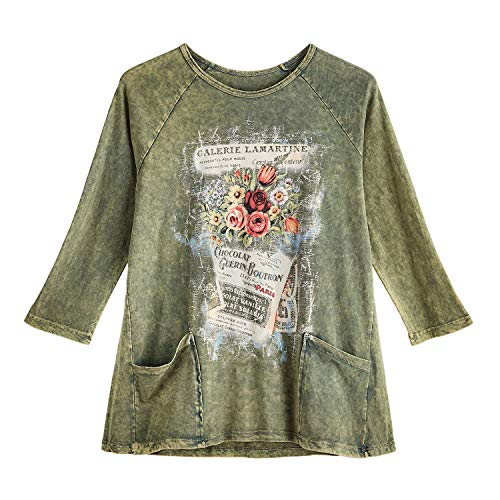 Jess & Jane Women's Dream of Paris Tunic - Green Raglan Sleeve Top with Pockets - 3X - 22-24