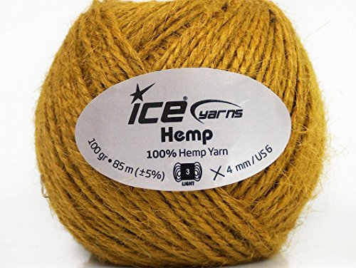 Lot-of-4-x-100gr-Skeins-Ice-Yarns-HEMP-Hand-Knitting-Yarn-Olive-Green