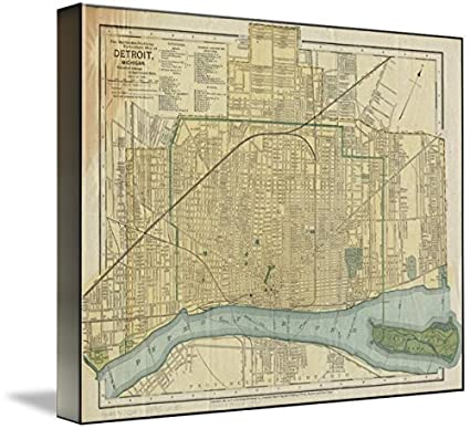 Amazon.com: Imagekind Wall Art Print entitled Vintage Map Of Detroit ...