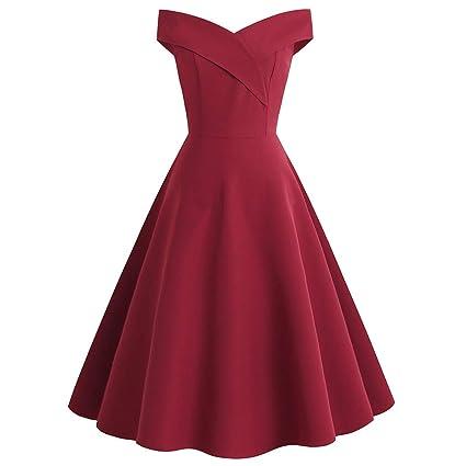 Amazon.com: Iusun vestido vintage de los años 50, retro, sin ...