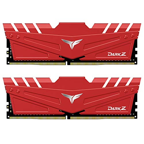 TEAMGROUP T-Force Dark Z DDR4 16GB Kit (2 x 8GB) 3200MHz (PC4-25600) CL 16 288-Pin SDRAM Desktop Gaming Memory Module Ram - Red - TDZRD416G3200HC16CDC01
