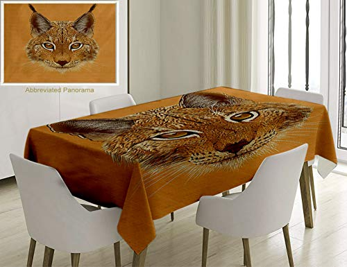 (Unique Custom Cotton And Linen Blend Tablecloth Animal Lynx Cat Portrait With Sharp Eyes Angry Wildlife Creature Tropical Kitty Graphic Light BrownTablecovers For Rectangle Tables, 86 x 55 Inches)