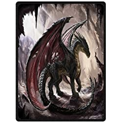 Daniellestore Soft Bed sheet Plush Throw Blanket Bedding Sleep Dragon in Cave 58 x 80 Inch